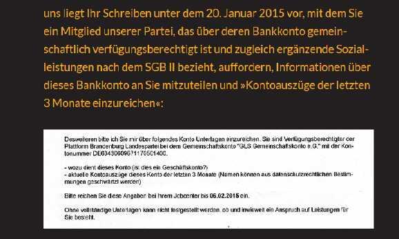 schreiben jobcenter - Hartz IV: Jobcenter will Parteikonto filzen