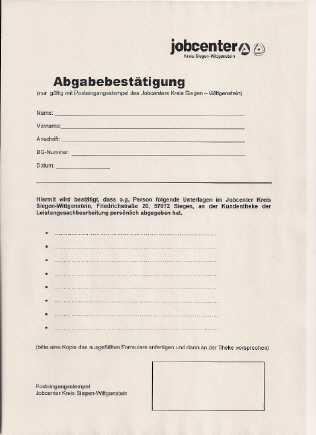 abgabebestaetigung jobcenter siegen - Hartz IV: Neues Abgabeformular als Bestätigung