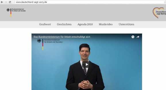 deutschland sagt sorry - Gefakte Hartz IV Sorry-Webseite
