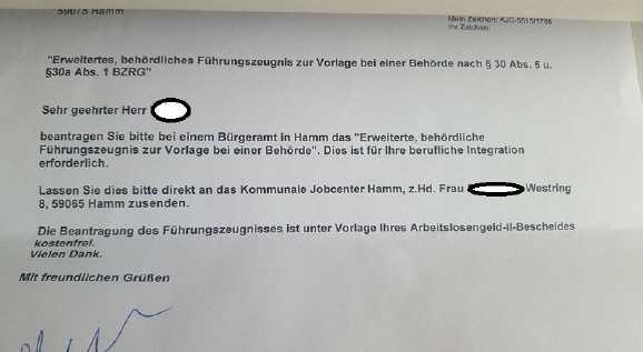 vorlage behoerde - Hartz IV: Jobcenter verlangt Führungszeugnis