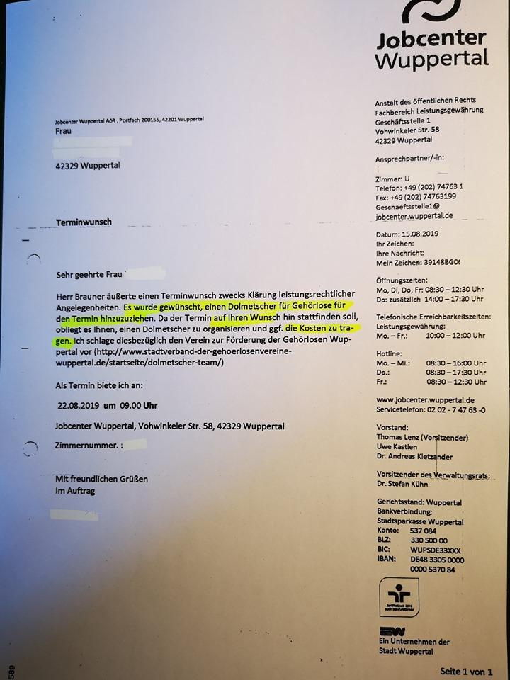 brief jobcenter behindertenfeindlich - Hartz IV: Behindertenfeindliches Jobcenter Wuppertal?