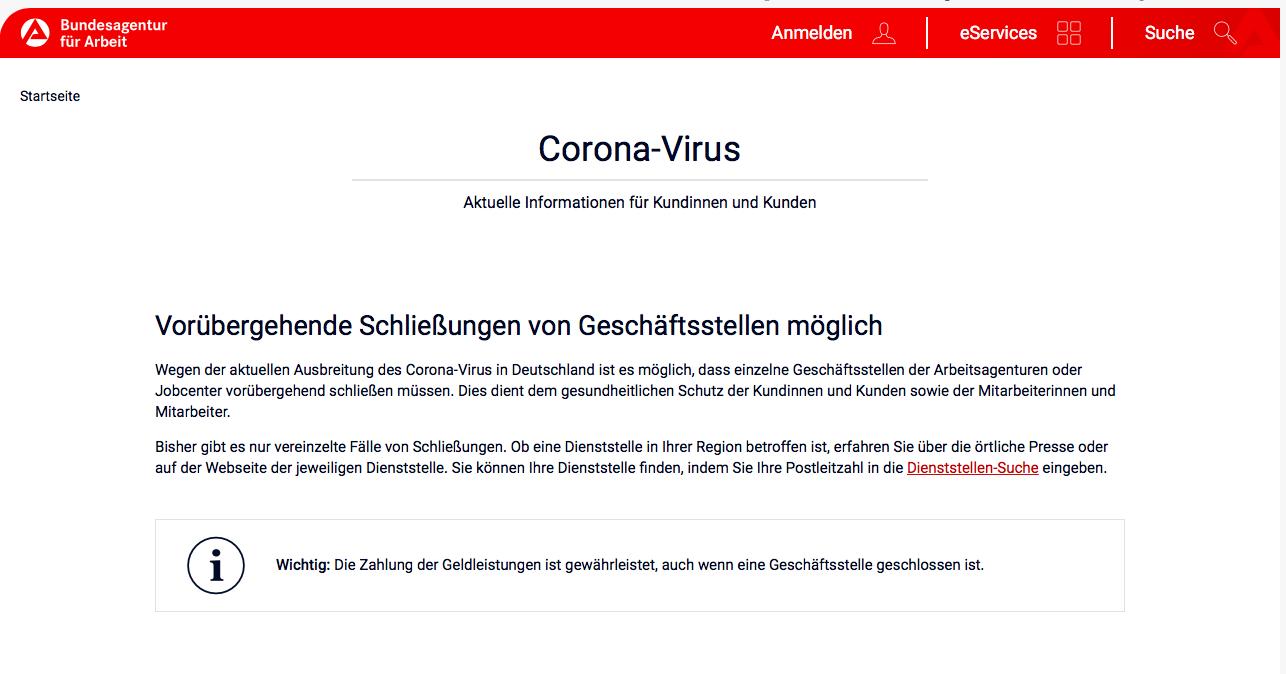 BA Meldung Coronavirus - Hartz IV: BA kündigt Jobcenter-Schließungen wegen Coronavirus-Krise an